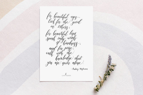 Modern Calligraphy Print - Beautiful Eyes Quote