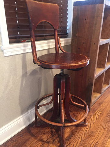 antique adjustable height stool with backrest