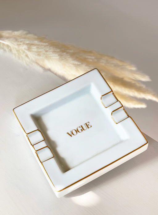 "Rare ""Vogue Magazine"" Ashtray, White & Gold"