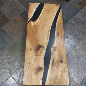 Butternut Coffee Table reverse live edge with black epoxy river on metal base 19x45