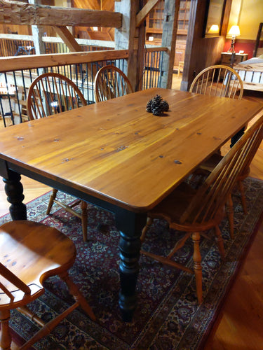Canadian Farm Table Pine Rubbed Through Black Oil Finish
