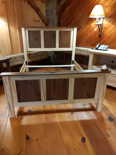 Wormy Maple and Walnut Queen Bed Frame