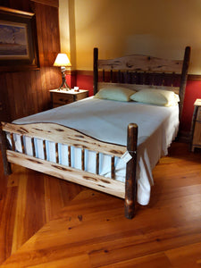 Hickory Queen Bed with Bark Accents
