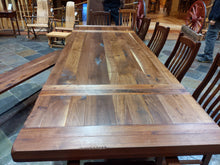 Load image into Gallery viewer, Walnut Plank Turnbuckle Trestle Table