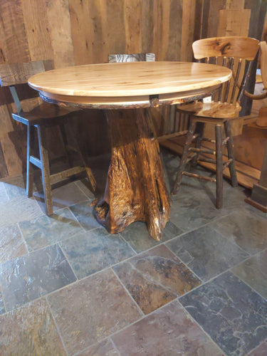 Stump table with round hickory top