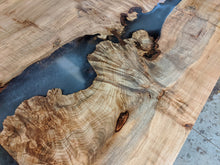 Load image into Gallery viewer, Maple Burl Top with Walnut Bow ties and Translucent Epoxy