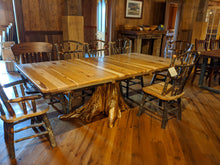 Load image into Gallery viewer, Hickory Table with Stump Base - two leaves