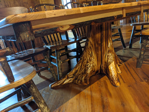Hickory Table with Stump Base - two leaves
