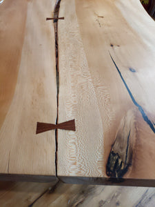 Quartersawn Sycamore slab Table with Metal Base