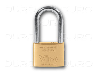 VIRO 314.64.PV - Rectangular Padlock Long Shackle - Patented Key