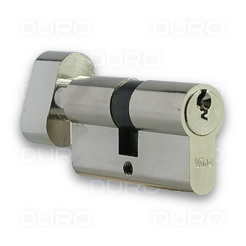 VIRO 740.1.9.PV - Euro Profile Single Cylinder with Thumbturn - Nickel Plated Brass Body - Patented Key