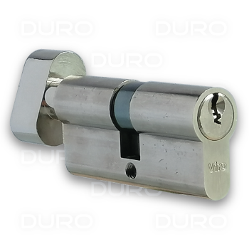 VIRO 740.7.9.PV - Euro Profile Single Cylinder with Thumbturn - Nickel Plated Brass Body - Patented Key
