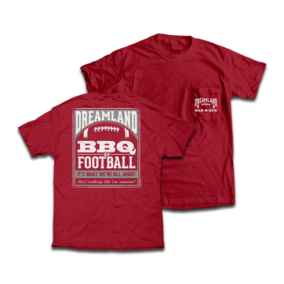Dreamland BBQ & Football Tee Shirt. Color: Crimson. $24.99