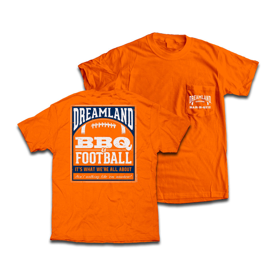 Dreamland BBQ & Football Tee Shirt. Color: Green. $24.99