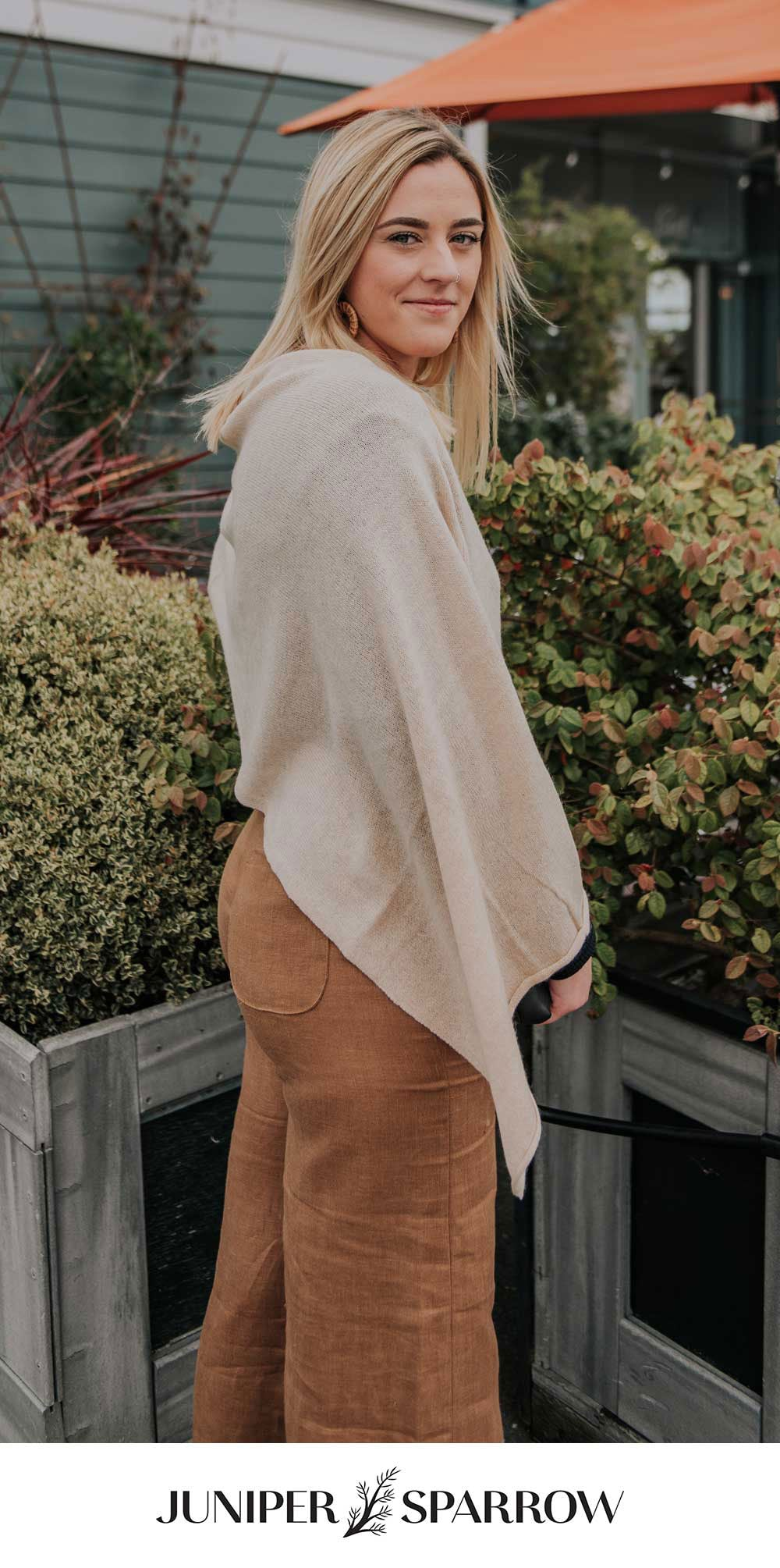 Juniper brunch pant in ginger with draped cashmere
