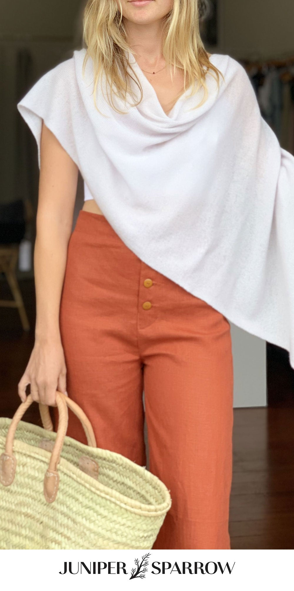 the Juniper Brunch Pant with cashmere and market basket