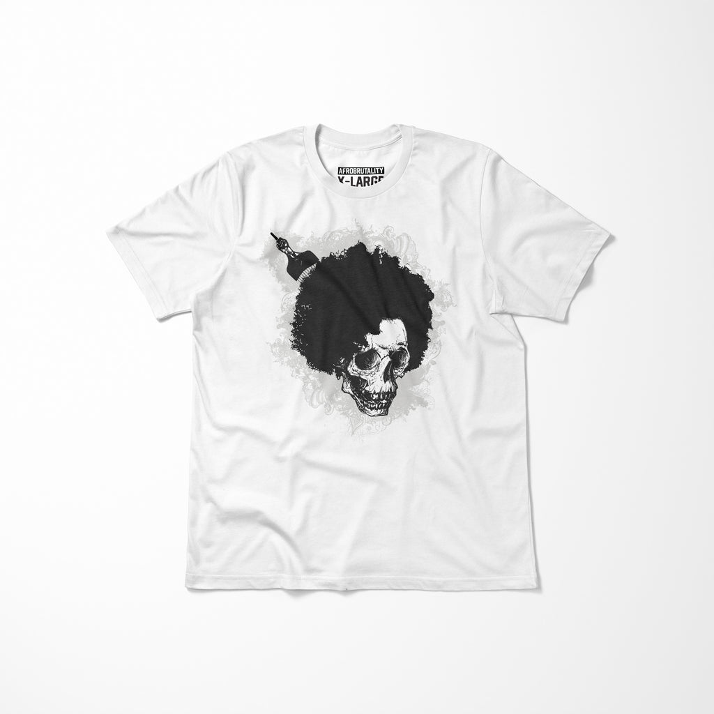 White AfroBrutality Men's T-Shirt