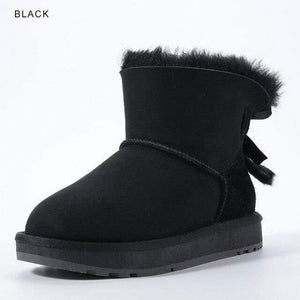 INOE Sheepskin Leather Wool Fur Lined Women Short Ankle Winter Suede Snow Boots with Bowknots Mink Fur Tassels Keep Warm Shoes Women's winter boots Dashery Box Black 9