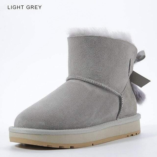 INOE Sheepskin Leather Wool Fur Lined Women Short Ankle Winter Suede Snow Boots with Bowknots Mink Fur Tassels Keep Warm Shoes Women's winter boots Dashery Box Light Grey 14
