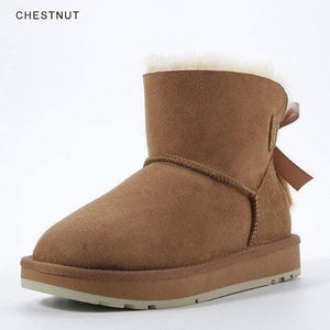 INOE Sheepskin Leather Wool Fur Lined Women Short Ankle Winter Suede Snow Boots with Bowknots Mink Fur Tassels Keep Warm Shoes Women's winter boots Dashery Box Chestnut 4