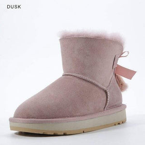 INOE Sheepskin Leather Wool Fur Lined Women Short Ankle Winter Suede Snow Boots with Bowknots Mink Fur Tassels Keep Warm Shoes Women's winter boots Dashery Box Dusk 8