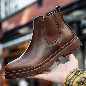 Brand Oxford Men Shoes Male Designer Genuine Leather Men's Wing Tip Chelsea Ankle Boots Business Dress Short Boots Dashery Box