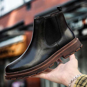 Brand Oxford Men Shoes Male Designer Genuine Leather Men's Wing Tip Chelsea Ankle Boots Business Dress Short Boots Dashery Box Black 44