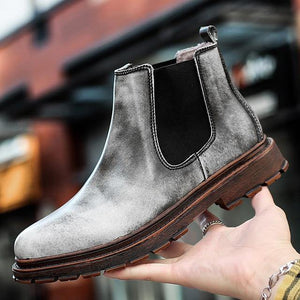 Brand Oxford Men Shoes Male Designer Genuine Leather Men's Wing Tip Chelsea Ankle Boots Business Dress Short Boots Dashery Box Gray 44