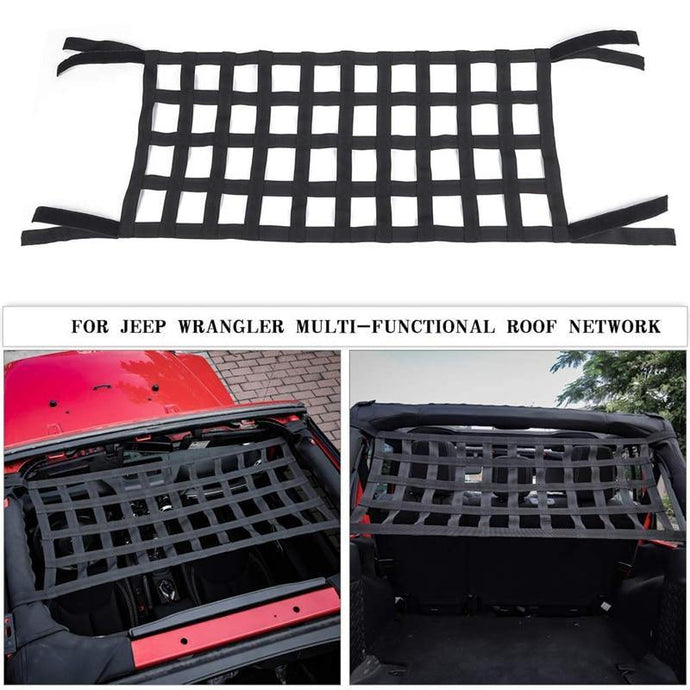 Heavy Duty Cargo Roof Top Soft Cover Rest Bed Hammock For Jeep Wrangler JL TJ YJ JK Mesh Cargo Net Auto Roof Net Hammock Jeep roof hammock Dashery Box