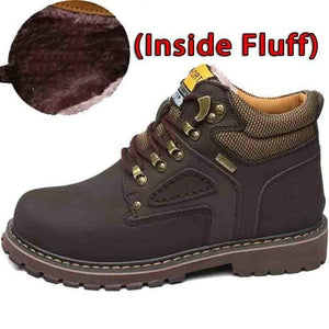 SURGUT Winter New Men Ankle Boots Motorcycle Fur Plush Warm Classic Fashion Snow Boot Autumn Men Casual Outdoor Working Boots Men's leather boots Dashery Box Fluff Dark Brown 7