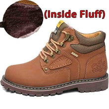 Load image into Gallery viewer, SURGUT Winter New Men Ankle Boots Motorcycle Fur Plush Warm Classic Fashion Snow Boot Autumn Men Casual Outdoor Working Boots Men's leather boots Dashery Box Fluff Light Brown 7
