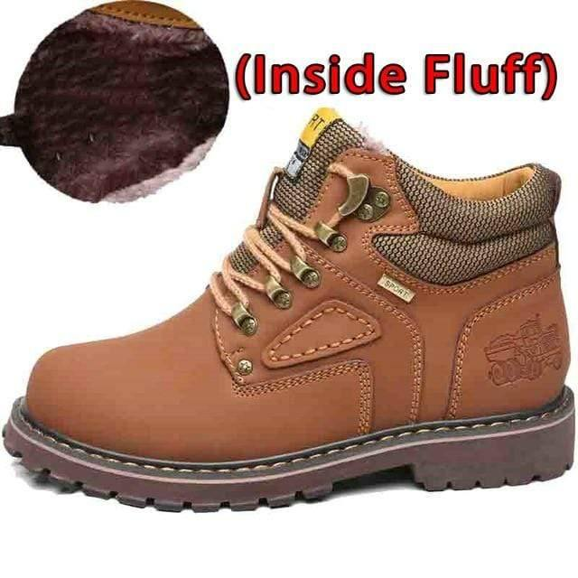 SURGUT Winter New Men Ankle Boots Motorcycle Fur Plush Warm Classic Fashion Snow Boot Autumn Men Casual Outdoor Working Boots Men's leather boots Dashery Box Fluff Light Brown 7