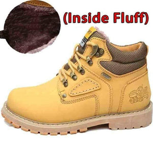 SURGUT Winter New Men Ankle Boots Motorcycle Fur Plush Warm Classic Fashion Snow Boot Autumn Men Casual Outdoor Working Boots Men's leather boots Dashery Box Fluff Gold Yellow 12