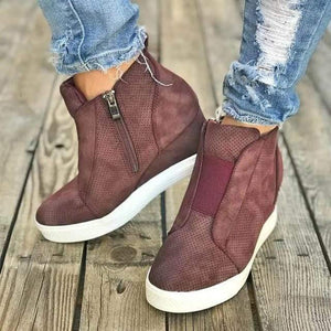 Women's Wedge Sneaker Vulcanize Shoes Fashion Zip Leopard Increase Within Zapatos De Mujer New Fashion for Girl Women's shoes Dashery Box Rose Red 2 12