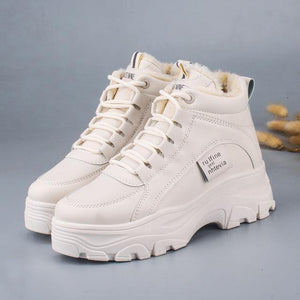 FUJIN / Women's casual sneakers; winter sneakers with plush fur; warm women's shoes; women's shoes with lacing; women's shoes on Women's sneakers Dashery Box beige 35 China