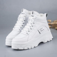 Load image into Gallery viewer, FUJIN / Women's casual sneakers; winter sneakers with plush fur; warm women's shoes; women's shoes with lacing; women's shoes on Women's sneakers Dashery Box white 35 China