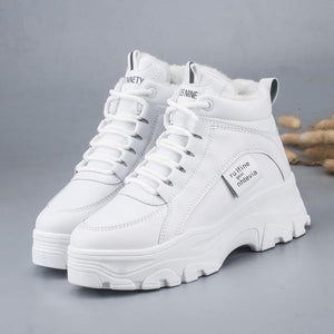 FUJIN / Women's casual sneakers; winter sneakers with plush fur; warm women's shoes; women's shoes with lacing; women's shoes on Women's sneakers Dashery Box white 35 China
