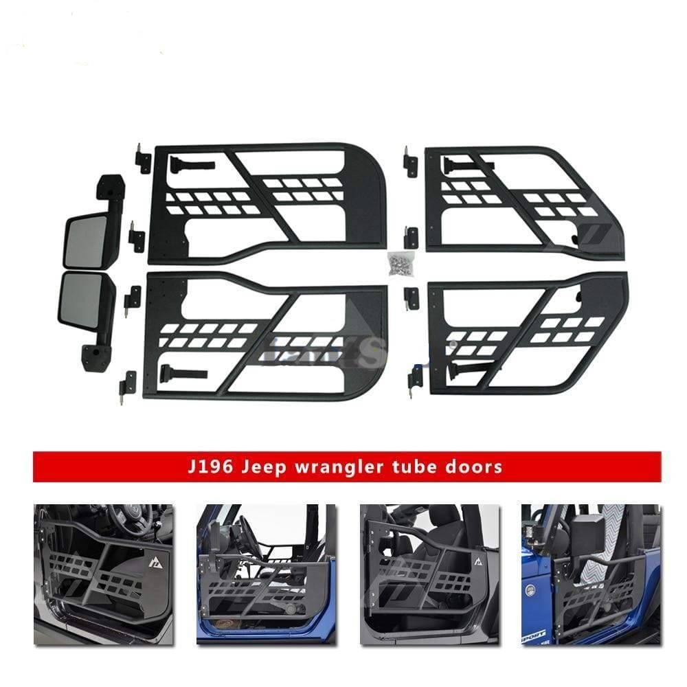 J196 one set steel half tube doors with side mirror for jeep wrangler 1 set half tube doors with side mirrors Dashery Box
