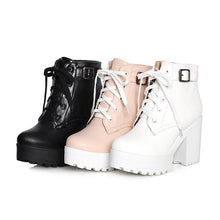 Load image into Gallery viewer, GOXPACER Autumn Martin Boots Boots Women Round Toe Buckle Shoes Women High Heel Fashion Plus Size Square Heels Lacing 3 Colors Women's leather boots Dashery Box
