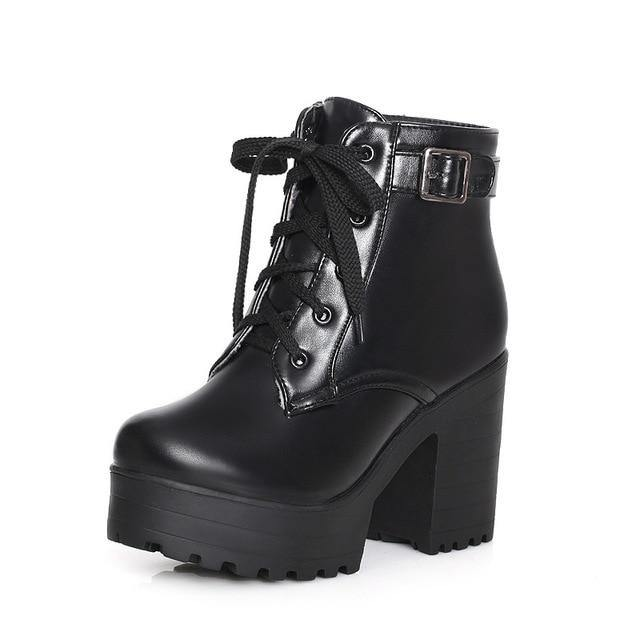GOXPACER Autumn Martin Boots Boots Women Round Toe Buckle Shoes Women High Heel Fashion Plus Size Square Heels Lacing 3 Colors Women's leather boots Dashery Box Black 4.5