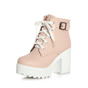 GOXPACER Autumn Martin Boots Boots Women Round Toe Buckle Shoes Women High Heel Fashion Plus Size Square Heels Lacing 3 Colors Women's leather boots Dashery Box Pink 4.5
