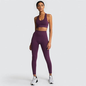 2PCS Hyperflex Seamless Yoga Set Sportswear Sports Bra+Leggings Fitness Pants Gym Running Suit Exercise Clothing Athletic Dashery Box dark purple L