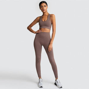 2PCS Hyperflex Seamless Yoga Set Sportswear Sports Bra+Leggings Fitness Pants Gym Running Suit Exercise Clothing Athletic Dashery Box champagne L