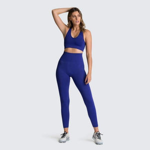 2PCS Hyperflex Seamless Yoga Set Sportswear Sports Bra+Leggings Fitness Pants Gym Running Suit Exercise Clothing Athletic Dashery Box deep blue L