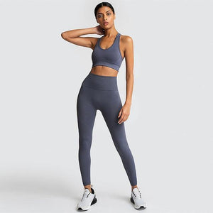 2PCS Hyperflex Seamless Yoga Set Sportswear Sports Bra+Leggings Fitness Pants Gym Running Suit Exercise Clothing Athletic Dashery Box Gray S