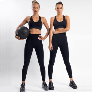 2PCS Hyperflex Seamless Yoga Set Sportswear Sports Bra+Leggings Fitness Pants Gym Running Suit Exercise Clothing Athletic Dashery Box black S