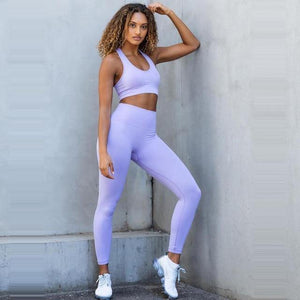 2PCS Hyperflex Seamless Yoga Set Sportswear Sports Bra+Leggings Fitness Pants Gym Running Suit Exercise Clothing Athletic Dashery Box as photo purple M