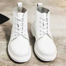 Load image into Gallery viewer, Soft Split Leather Women White Ankle Boots Motorcycle Boots Female Autumn Winter Shoes Woman Punk Motorcycle Boots 2020 Spring Women's leather boots Dashery Box