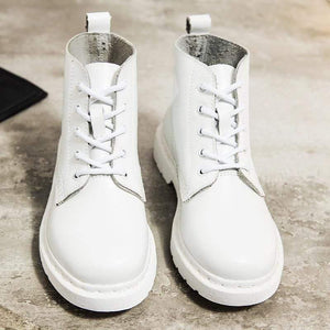 Soft Split Leather Women White Ankle Boots Motorcycle Boots Female Autumn Winter Shoes Woman Punk Motorcycle Boots 2020 Spring Women's leather boots Dashery Box