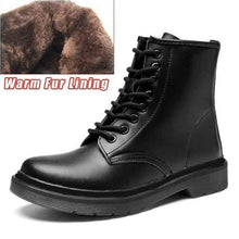 Load image into Gallery viewer, Soft Split Leather Women White Ankle Boots Motorcycle Boots Female Autumn Winter Shoes Woman Punk Motorcycle Boots 2020 Spring Women's leather boots Dashery Box 8 hole black fur 44